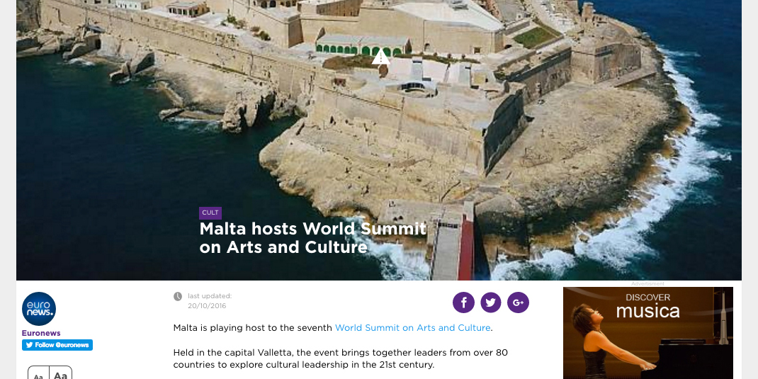 Euronews videos on World Summit on Arts and Culture in Malta