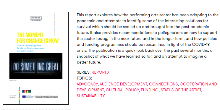 COVID-19 learning points for the performing arts sector & policy-makers - IETM